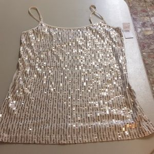 Ann Taylor gold and cream color tank M